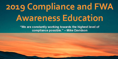 Click to begin your Compliance and Awareness Education Course (opens in a new browser)